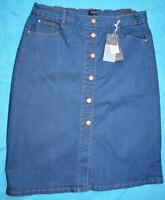 AUTOGRAPH Mid DENIM Skirt Size 18 NEW STRETCH rrp$49.99 Button Front-Elastic Wst