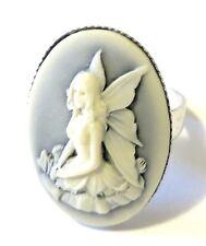 Anello regolabile cammeo 25x18mm fata blu sfumato gothic victorian fairy ring