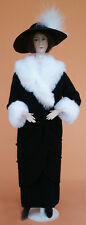 """1910 Black Charmeuse Manteau Sewing Pattern for a 17"""" doll #106"""