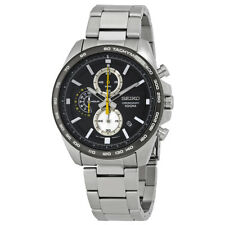 Seiko Black Dial Mens Stainless Steel Chronograph Watch Ssb261P1