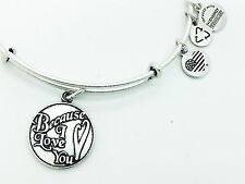 Alex and Ani BECAUSE I LOVE YOU Silver Color Charm Bangle Valentine's Special !!