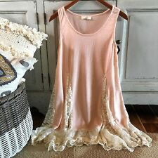 L NWT Peach Tiered Flowy Hem Layering Tank Top Women's Size LARGE Top Extender