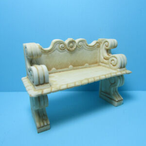 Dollhouse Miniature Victorian Garden Bench with Stone Look in Tan A1008TN
