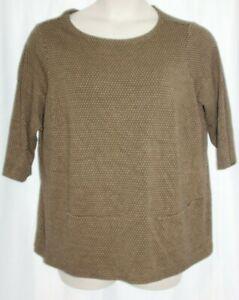 J. Jill Ponte Black Brown Geometric Pocket Top Blouse Stretch  Women's Size 1X