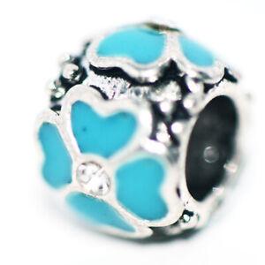 1Pc Green Silver Flower Bead Charm Fit Eupropean Chain Bracelet Making Jewelry