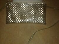 "LADIES GOLD QUILTED CROSSBODY PURSE-8 1/2"" ×5"""