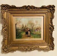 Antique France Oil Painting on Wood Board Young Couple Framed c.1800 16.5x14.5