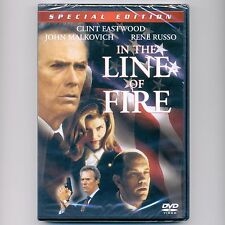In the Line of Fire 1993 R action thriller movie, new DVD C. Eastwood, Malkovich