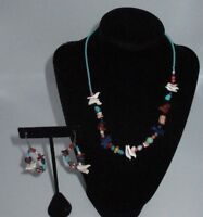 Navajo Tribal Beaded Stones Rocks Necklace Faux Turquoise Bird Earring Set Bin2