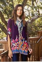 💖NWT JOHNNY WAS Cupra ARAXI Embroidered TUNIC V Neck BLOUSE Top S $258 💖