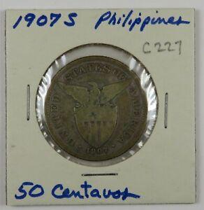 C227 Philippines, 1907 AR 50 Centavos, San Francisco Mint D