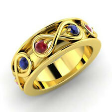0.80 Ct Natural Sapphire/Ruby Gemstone Band 14K Solid Yellow Gold Rings Size 7 8