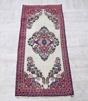 Vintage Traditional Oushak Carpet 2x5 Turkish Hand Knotted Wool Floral Area Rug