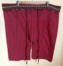 Thai Short Fisherman Yoga Pants,  Rusty Red/Floral, One Size