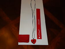 BEAUTIFUL Baccarat Maker's Mark Signed Ruby Red Heart Necklace W/ Cloth Bag