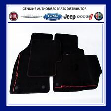 Genuine Fiat 500 Luxury Carpet Mats Black & Red Stitching logo 2012/-  59137282