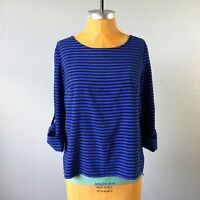 Calvin Klein Womens Top Relaxed Stretch 3/4 Tab Sleeve Blue Striped Size M