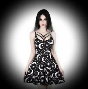 New Black Gothic Crescent Moon Print Strappy Skater Dress size 5XL 20 22 24