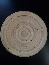 Spun Natural Bamboo Fruit Bowl Or Bread Basket 10 Inch Round