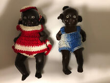 Vintage Strung Painted Bisque African American Baby Dolls Crocheted Clothes