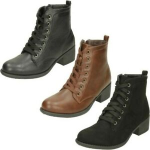 Ladies Spot On Mid Heel Lace Up 'Ankle Boots'