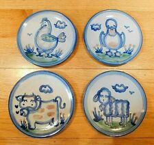 "Lot of Four M. A. Hadley 6"" Salad Bread Dessert Plates Sheep Cow Chicken Duck"