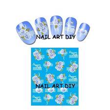 stickers nail art water transfer-unghie adesivi fiori blu con lettere e cuori !!