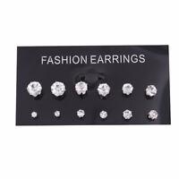 6 Pairs Women 925 Silver Sterling CZ Crystal Rhinestone Ear Stud Earrings Gift
