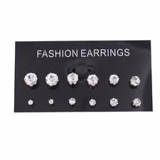 6 Pairs Women 925 Sterling Silver CZ Crystal Rhinestone Ear Stud Earrings Gift
