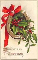 Elllen H Clapsaddle Christmas~Holly Berry Pokes Thru Horseshoe~Red Ribbon~Emboss