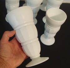 "8 Antique Soda Fountain Ribbed Pedestal 7"" Milk Shake Parfait Glass Tumblers T2"