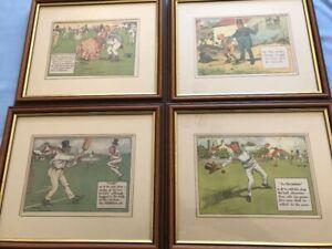 4 x Charles Crombie Cricket Prints - Rules 22 -32-47/48 + The Fieldsman