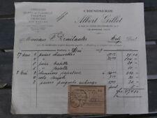 Facture Magasin Boutique de Chemises Chemiserie ALBERT GILLET à METZ 1929