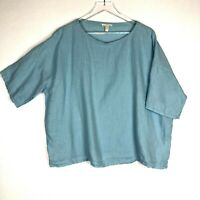 Eileen Fisher 100% Organic Linen Top Blouse Sz L Light Blue Boxy Fit Boat Neck