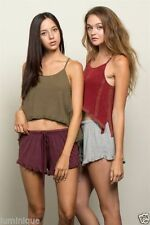 Patternless Mid-Rise 100% Cotton Shorts for Women