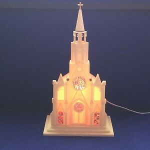 "VTG RAYLITE HARD PLASTIC MUSICAL/LIGHTED CHURCH PLAYS SILENT NIGHT 13"" CLEAN"