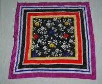 Vintage 60s Square Silk Scarf Purple Blue Striped Black Red Blue Yellow Floral