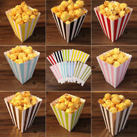 1-120X Multi Stripe Paper Popcorn Boxes Birthday Party Wedding Favour Sweet Bags
