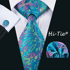 SN-1592 Hi-Tie Peacock Blue Floral Jacquard Mens Tie Set For Wedding Business
