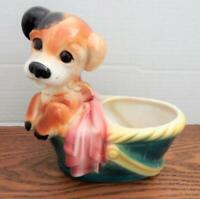 Vintage Royal Copley PUP IN GREEN BASKET -  Dog With Pink Blanket PLANTER