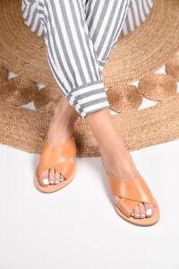 Ancient Greek natural flat real leather X-stripe slide sandals handmade