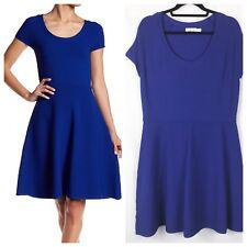Eliza J Plus Size Short Sleeve Ribbed Fit & Flare Dress Cobalt Blue Size XL u31