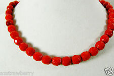 """VINTAGE W Germany CRANBERRY RED GLASS FACETED BEADS STRANDS NECKLACE 16.5""""L"""