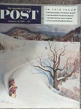 1955 Saturday Evening Post Tobogganing John Clymer Cover Only