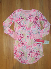 Girl Multicolor PEACE SIGNS FLOWERS LIGHT PINK NIGHTGOWN SLEEPWEAR PJs NWT 6 6X