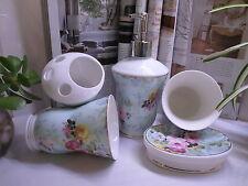 NEW -Bathroom Set- 5 Piece Ceramic-Pale Green background-Floral