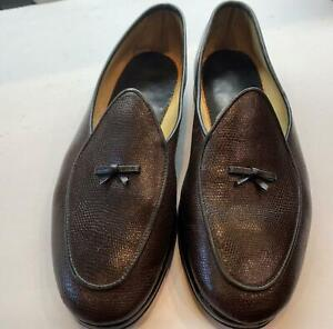Belgian shoes - Henri-mens lizaard grained leather loafers. brown/black 10-1/2W