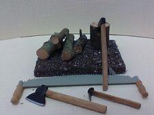 Dollhouse Miniature Wood pile w/ logs to split, crosscut  saw & set 3 axe 1:12