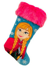 19In Disney Princess Anna Faux Fur Pink Blue Christmas Stocking