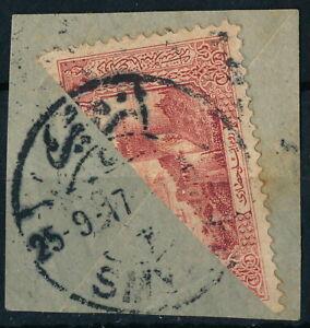 TURKEY - SMYRNE 1917, SCARCE BISECTED STAMP ON FRAGMENT.  #Z861